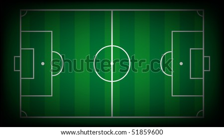 Vector illustration abstract background of soccer field with white lines on green. Isolated football playground.