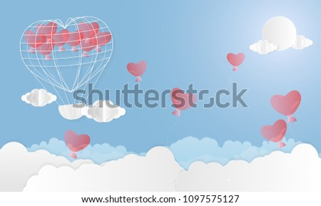 Vector illustration abstract background with Balloon Sun and Clouds.Paper art concept. #1097575127