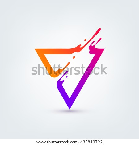 Vector illustration. Abstract colorful triangle. Dynamic splash liquid shape. Background for poster, cover, banner, placard. Logo design