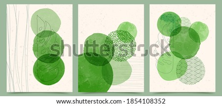 Vector illustration. Abstract contemporary aesthetic backgrounds. Design for cover, poster, postcard, card, flyer, brochure. Wall decor. Modern art print. Watercolor painting. Eco concept Photo stock ©