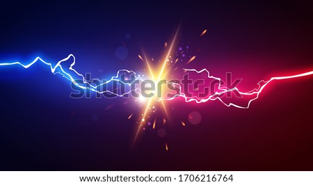 Vector Illustration Abstract Electric Lightning. Concept For Battle, Confrontation Or Fight Stockfoto ©
