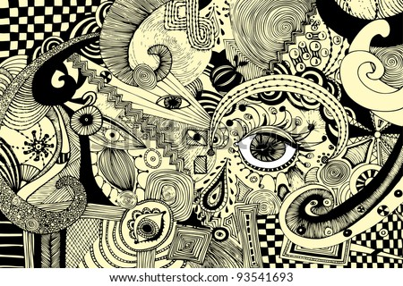 Vector illustration, abstract eyes artwork, card concept