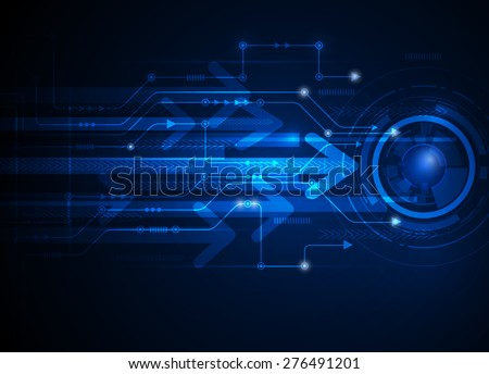 Vector illustration Abstract futuristic circuit board, hi-tech computer digital speed technology blue color background