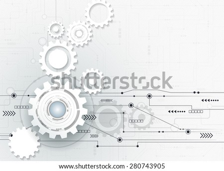 Vector illustration Abstract futuristic,3d white paper gear wheel on circuit board, high computer engineering technology  concept  .Light gray color background with blank space for your design
