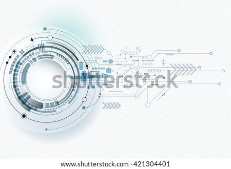 Vector illustration Abstract futuristic eyeball on circuit board, high computer technology. Light green and blue color background