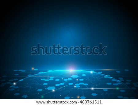 Vector illustration Abstract futuristic hexagons and circuit board, high computer technology, innovation communication concept. Dark blue color background