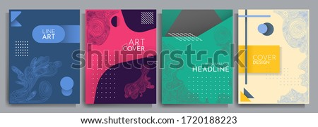 Vector illustration. Abstract geometric background set. Design element for cover, poster, book cover, brochure, headline. Color linear shapes. Line art. Flat concept. Futuristic modern graphic