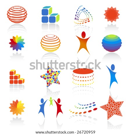 Vector illustration. Abstract icons set.