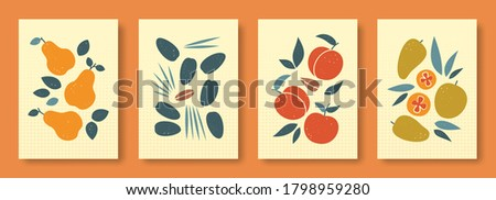 Vector illustration abstract still life of fruits in pastel colors. Collection of contemporary art. Vector set of fruits pear date fruit peach mango for social media, posters, postcards.