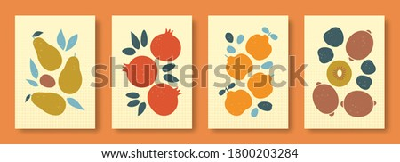 Vector illustration abstract still life of fruits in pastel colors. Collection of contemporary art. Vector set of fruits avocado, garnet, quince, kiwi for social media, posters, postcards.