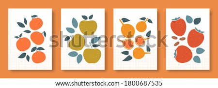 Vector illustration abstract still life of fruits in pastel colors. Collection of contemporary art. Vector set of fruits mandarin persimmon apple passion fruit for social media, posters, postcards.