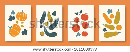 Vector illustration abstract still life of vegetables in pastel colors. Collection of contemporary art. Vector set of vegetables pumpkin eggplant tomato vegetable marrow for social media, posters.