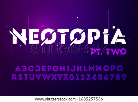 Vector illustration abstract technology font with techno effect. Digital space letter concept. Typography in futuristic minimalist display style.
