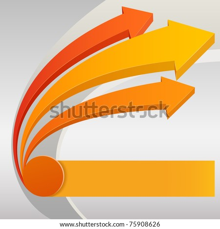 Vector illustration. Abstract upward arrows with gray background
