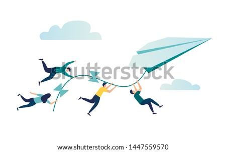 Vector illustration, achievement concept, a company of people holding on to a thread from a paper plane, move towards the goal