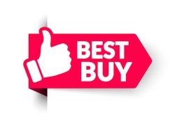 Vector Illustration Advertising Sale Banner Template Design. Best Buy Corner Sticker With Thumbs Up.