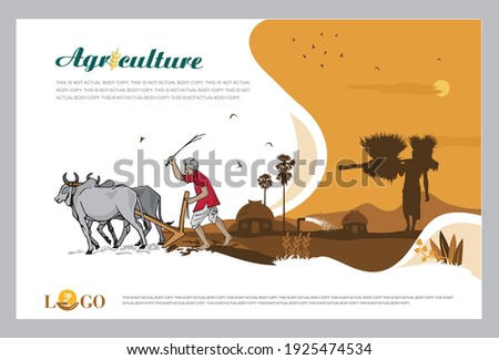 Vector illustration - Agriculture Advertising template with Agriculture Field Concept. Banner, site, poster template with place for your text.