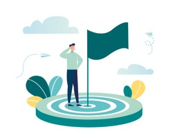 Vector illustration aimed at a goal, increase motivation, a way to achieve a goal, a businessman in the center with a flag-vector