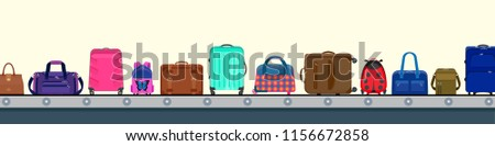 Vector illustration. Airport conveyor belt with passenger baggage. Various kinds of bags in terminal: vintage valise, modern suitcases on wheels, sport bag, leather case, child bags, backpack, purse.