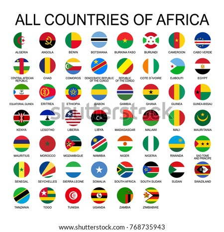 Vector illustration all flags of Africa. All countries of Africa, round shape flags.