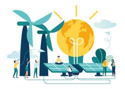 Vector illustration alternative renewable energy. solar energy, technological solar panels. schedule design extraction of environmental resources, the hour of the earth, save energy and the planet