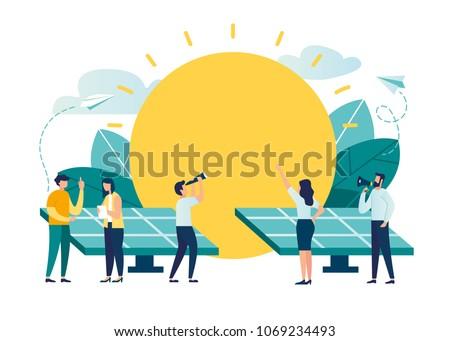 vector illustration. alternative renewable energy. solar energy, technological solar panels. schedule design environmental resource extraction