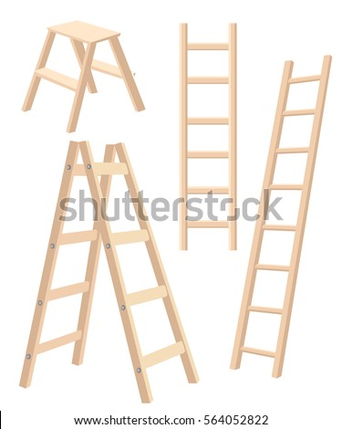 Vector illustration aluminum step folding ladder with standing platform stool and hand bar wooden step ladders