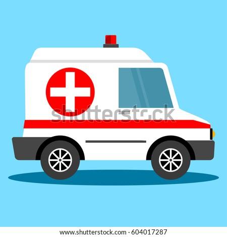 Vector illustration ambulance car. Ambulance auto paramedic emergency. Ambulance vehicle medical evacuation.