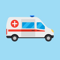 Vector illustration ambulance car on blue background. Ambulance auto paramedic emergency. Ambulance vehicle medical evacuation. Cartoon ambulance silhouette on blue