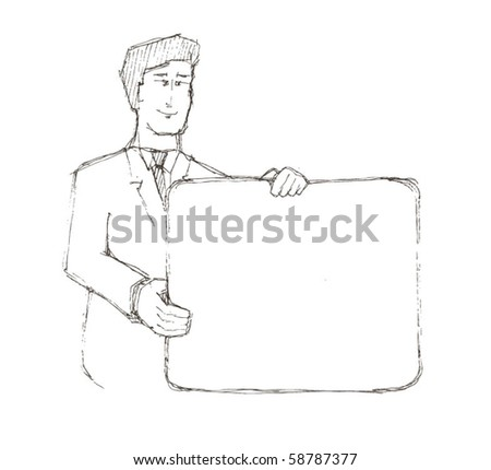 "Vector illustration. An excited young man holding white blank cardboard saying ""put your own text here"" - stock vector"