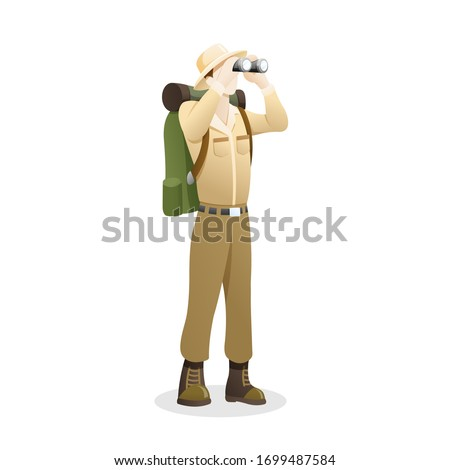 Vector illustration an Explorer using binocular. People to explore the jungle, Man with binoculars enjoying scenic landscape. Explorer cartoon character, Outdoor activity. Vector in flat style Stock photo ©