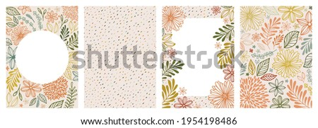 Vector illustration and seamless pattern in warm colors. Set of universal hand drawn floral template for cover, home decor, backgrounds, cards. Children abstract and floral design in doodle style. Foto stock ©