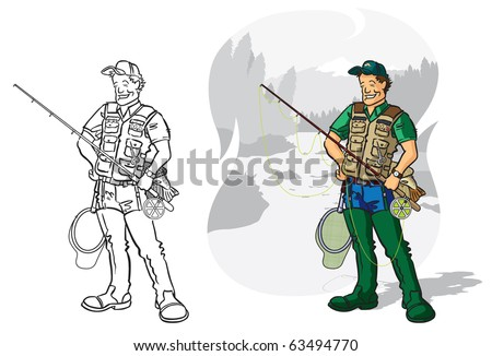Vector illustration Angler - recreational fly fishing Vector illustration of a game angler with fly fishing equipment. Fully editable layers included.