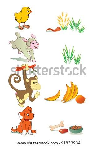 vector illustration, animal gastronomy, education concept, white background.