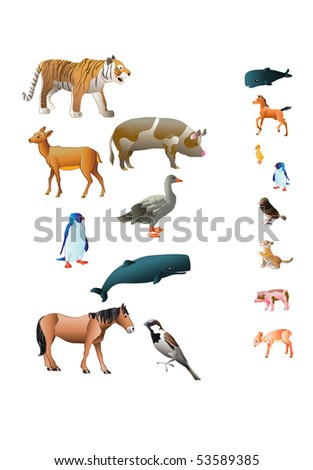 vector illustration, animals and their babies, card concept, white background.
