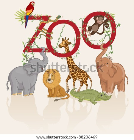 Vector illustration, animals invite you at zoo, card concept, white background.