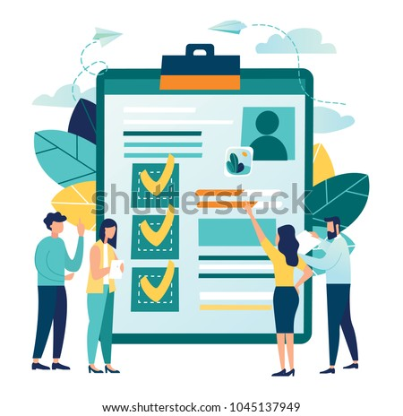vector illustration. application form for employment. people select a resume for a job. vector small characters recruitment agency. claim form