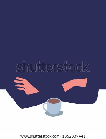 Vector illustration artwork of human hands with a cap of coffee. Conceptual image of a man as a symbol of the emptiness, beginning, or loneliness thinking. Copy space added for your text.
