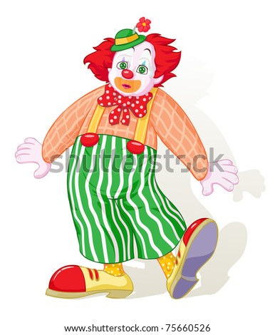 Vector illustration, astonished clown, cartoon concept, white background.