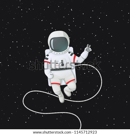 Vector illustration. Astronaut in space with tether making peace or v sign, gesture. Dark space with stars on a background.