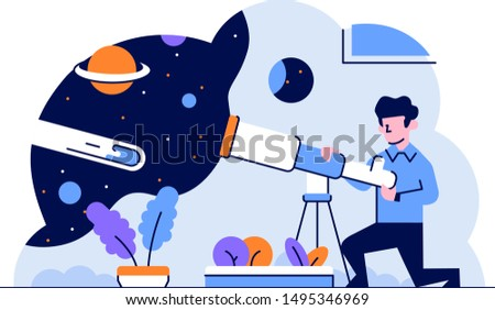 Vector Illustration Astronomy enthusiast see the sky full of planet stars moon with telescope flat and outline design style