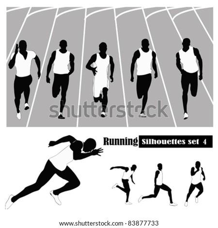 Vector illustration .Athletes running on a track