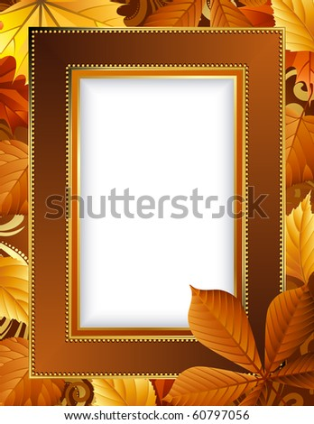 Vector illustration - autumn leaves frame