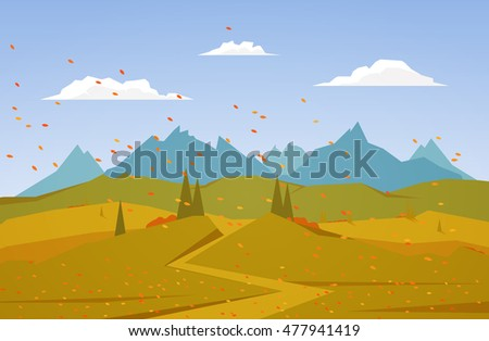 Vector illustration: Autumn Mountains landscape with road, pine, hills.
