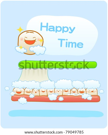 Vector illustration, baby teeth, Brushing teeth, clean teeth, happy time