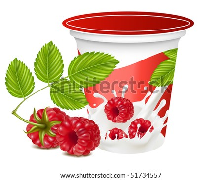 Vector illustration. Background for design of packing yogurt with photo-realistic vector of raspberry.