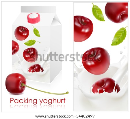Vector illustration. Background for design of packing yogurt with photo-realistic vector of cherry.