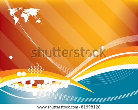 Vector illustration background in technology and the world map