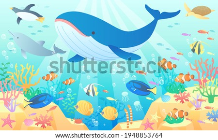 Vector illustration background (landscape) where whales, penguins and dolphins are swimming in the summer sea