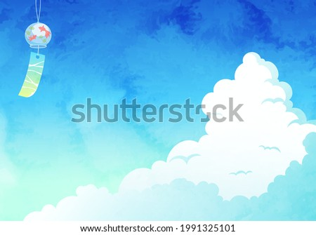 Vector illustration background of cumulonimbus and wind chimes (watercolor) Stock photo ©